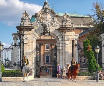 Royal Palace Budapest, Buda Castle, Habsburg Gate with equestrian guard