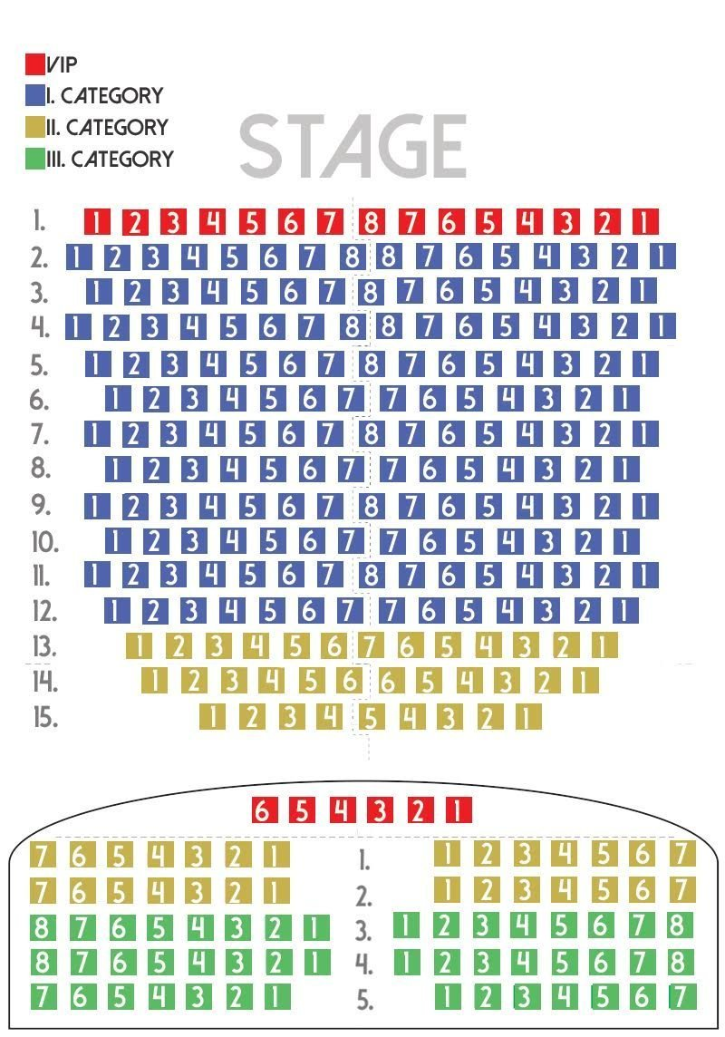 Folklore show in Budapest seating plan
