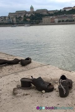 Shoes on the Danube Embankment Budapest with Buda Castle