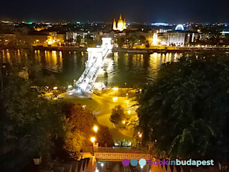 Chain Bridge with St. Stephen's Basilica Budapest, by night